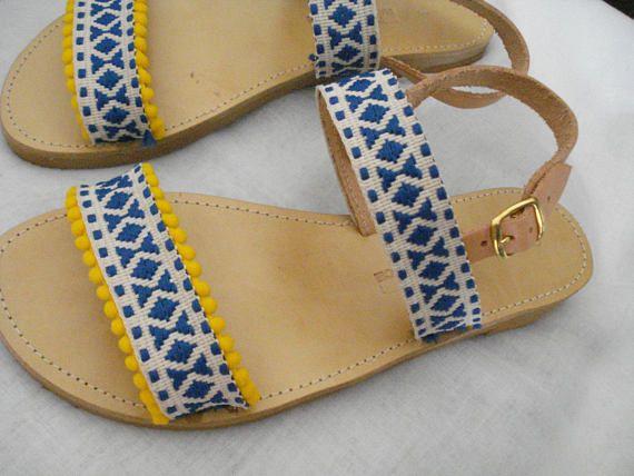 Pom poms strappy sandals Greek leather sandals Boho sandals