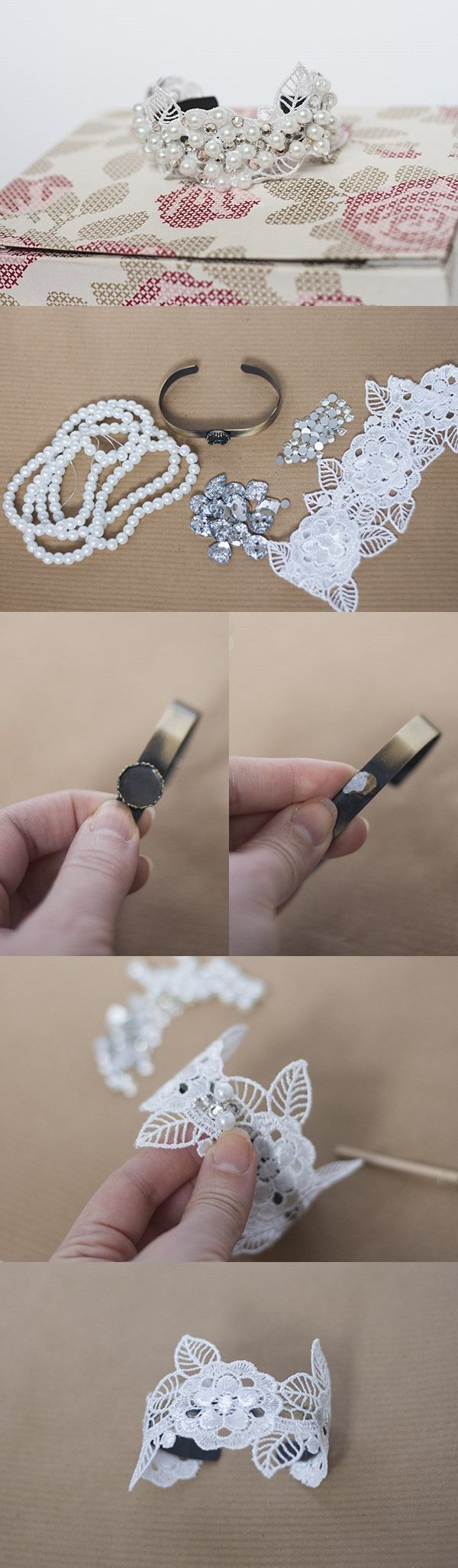 Tutorial on How to Make a Lace Cuff Bracelet with Pearl Beads
