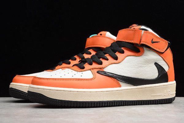2019 Nike Air Force 1 Mid 07 White Orange Black 804609 158 Nike
