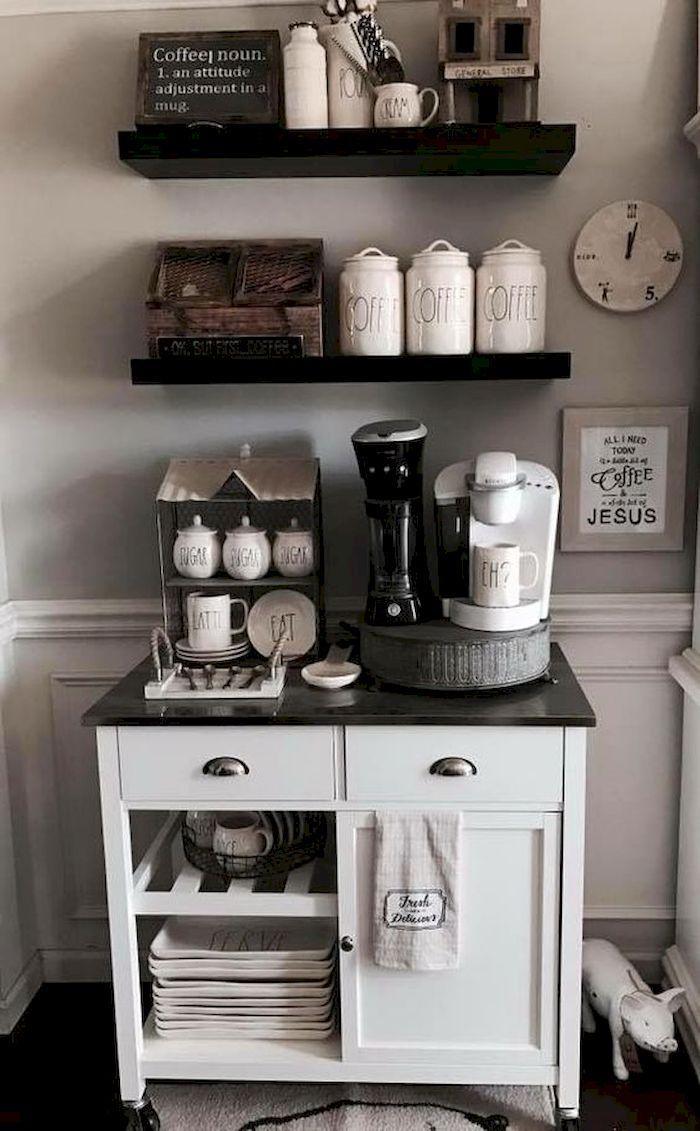 10 Mini Coffee Bar Ideas You Need To Consider For Your Own Godiygo Com Coffee Bar Home Coffee Bars In Kitchen Coffee Bar Design