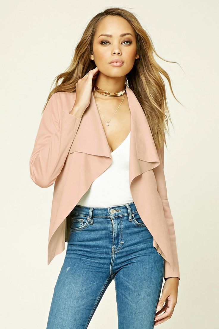 A faux suede blazer by TWELVE™ featuring an open front, long sleeves, and raw-cut hem.