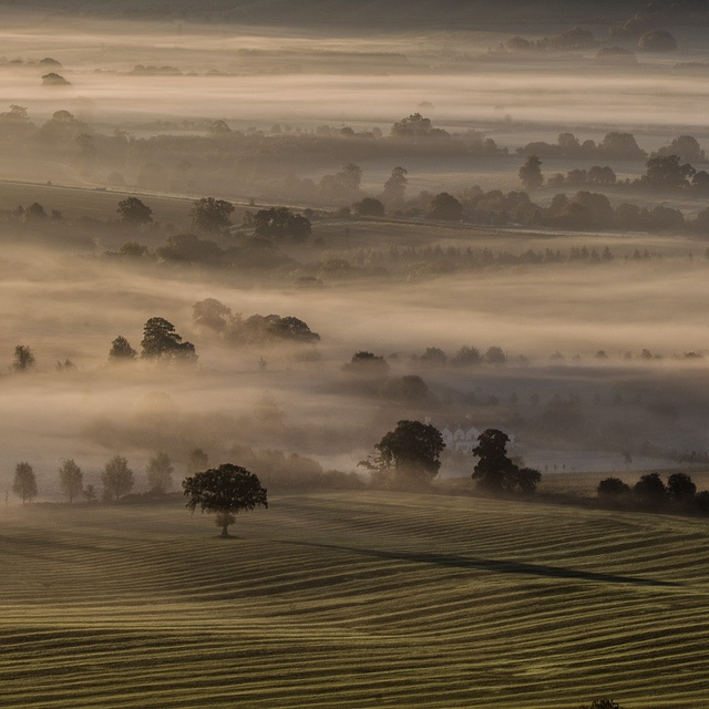 The dawn of time.    Over looking Pewsey Vale from Martinsell Hill.