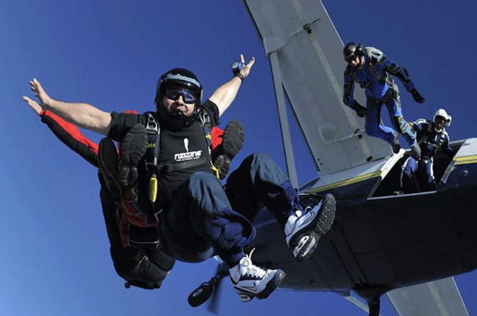 Miami Tandem Skydiving Experience the thrill of free falling on a tandem skydiving adventure in Miami! Safely strapped to your professional skydiving instructor, get the ultimate adrenaline rush during a 60-second free fall at speeds up to 120 mph (193 kph), followed by a peaceful parachute descent with breathtaking views. After pickup from your Miami hotel, you'll arrive at the drop zone to be equipped with your skydiving equipment – a jumpsuit, soft helmet, goggles ...