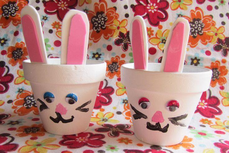 Adorable clay pot bunny craft