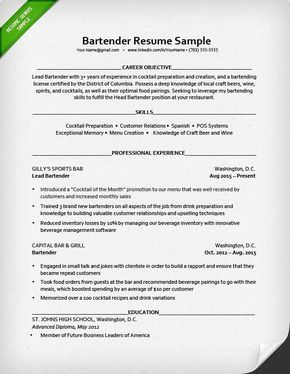 Waitress Resume Skills 10 Best Cv Format Images On Pinterest  Resume Templates Baristas .