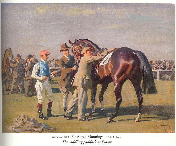 Sir Alfred Munnings - The Saddling Paddock at Epsom (circa 1930) -  www.richard-green.com