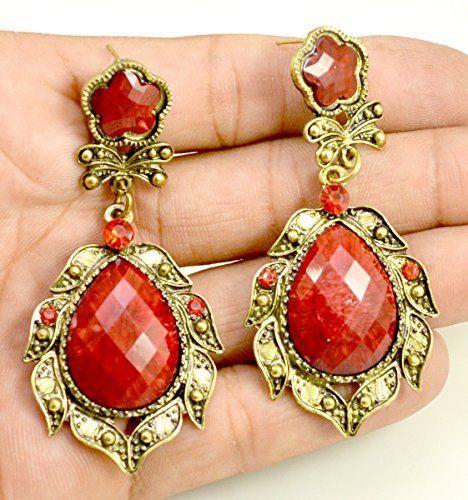 A Pair of Brass Metal Floral Design Hippie Danglers Fashion Earrings for Women's Krishna Mart India http://www.amazon.com/dp/B00UQC5B74/ref=cm_sw_r_pi_dp_iW.xwb024PJE2