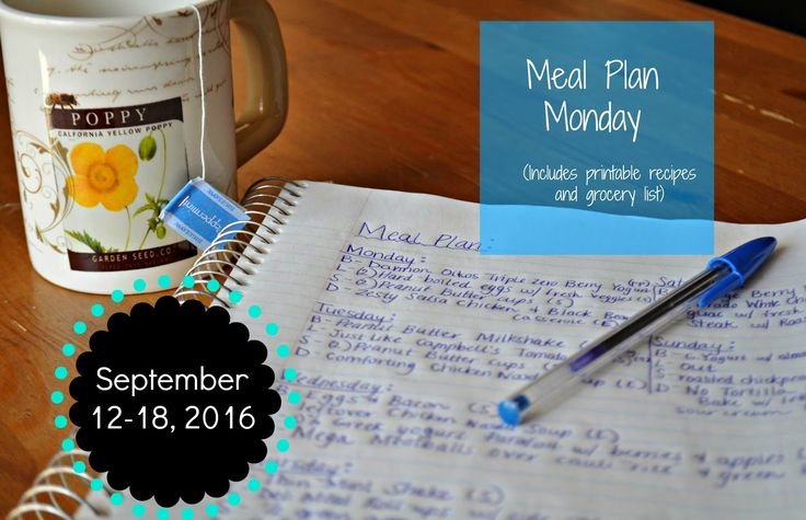 Darcie's Dishes: Meal Plan: 9/12-9/18/16