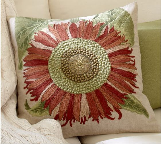 pottery barn single sunflower embroidered pillow cover time to change my accent pillow covers