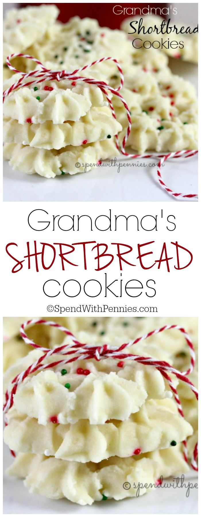 Grandma's Shortbread Cookies! This has been my favorite Christmas Cookie since I was a little girl! <3 Buttery, melt in your mouth and delicious!