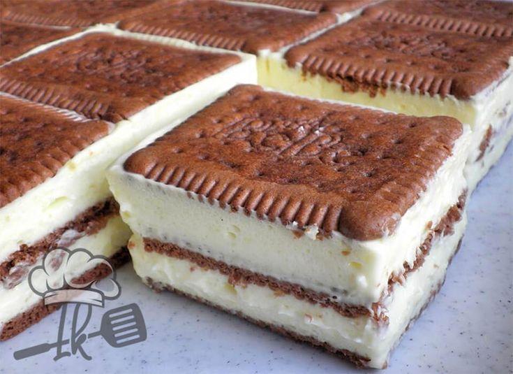 Butterkeks-Vanillecreme-Schnitten Kuchen – Butterkeks Torte / Kekskuchen