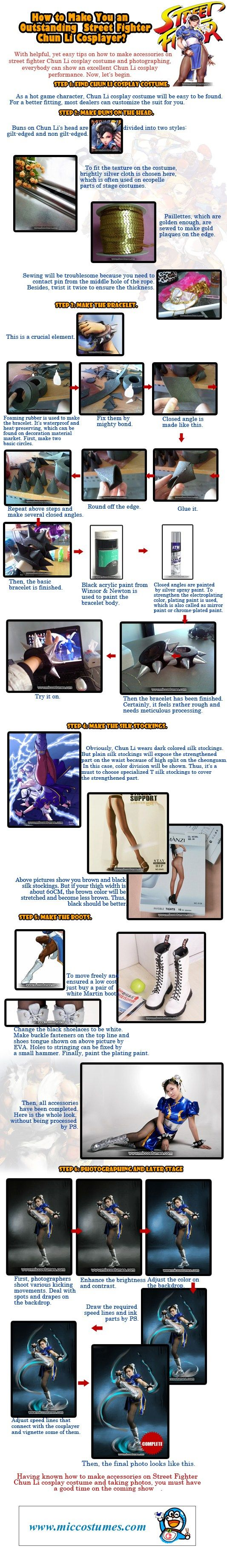 With helpful, yet easy tips on how to make accessories on street fighter Chun Li cosplay costume and photographing, everybody can show an excellent Chun Li cosplay performance. Now, let's begin. St…