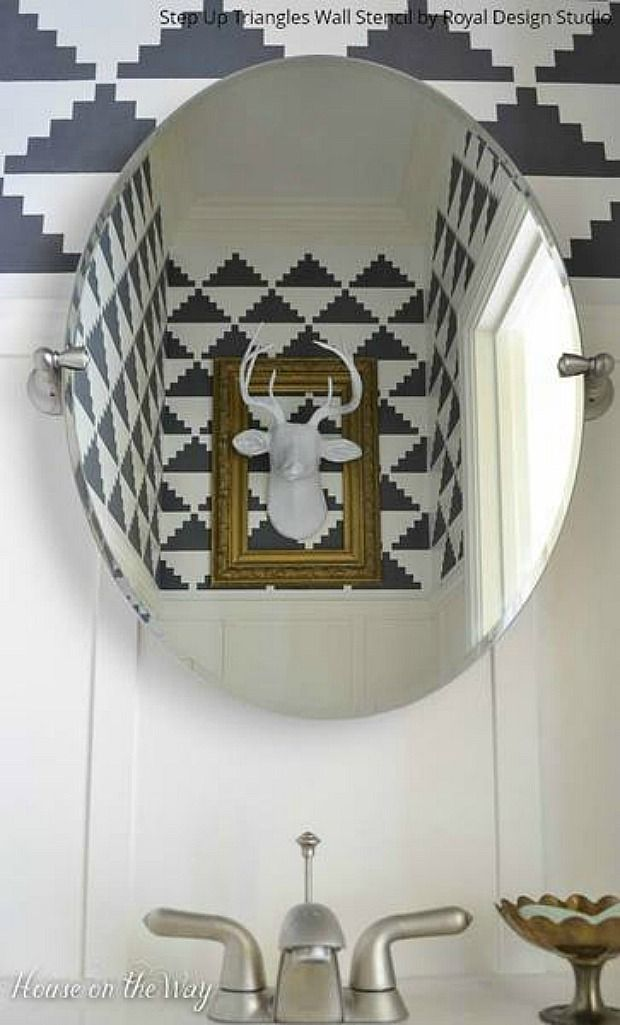 With An Art Deco Feel, These Triangle Shaped Geometric Stencils Will  Transform Any Room Into A Regal Space.