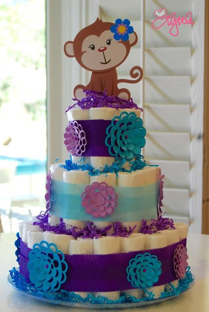 {Love, Lyttle} lavender and turquoise baby girl monkey diaper cake