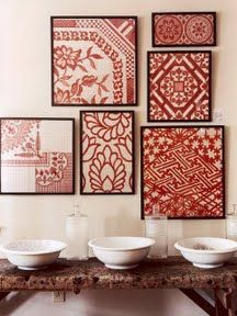 ok this is red and white..but would be equally as beautiful in blue and white! Inexpensive Asian Inspired Wall Decor - DIY                                                                                                                                                      More