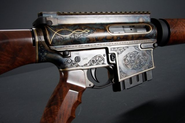 Antique Engraved Ar 15 Rifle With Wood Stock Weapons
