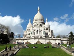 Sacre Coeur in Paris. The church sits high on a hill, and gives the second-best view of the city, after the Eiffel Tower.