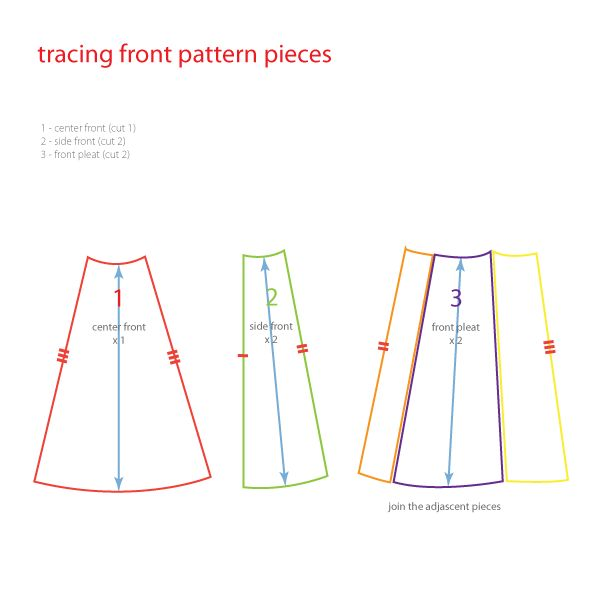 Frabjous Couture: Crossover Pleat Skirt Draft-Along 8: Tracing Front Pieces