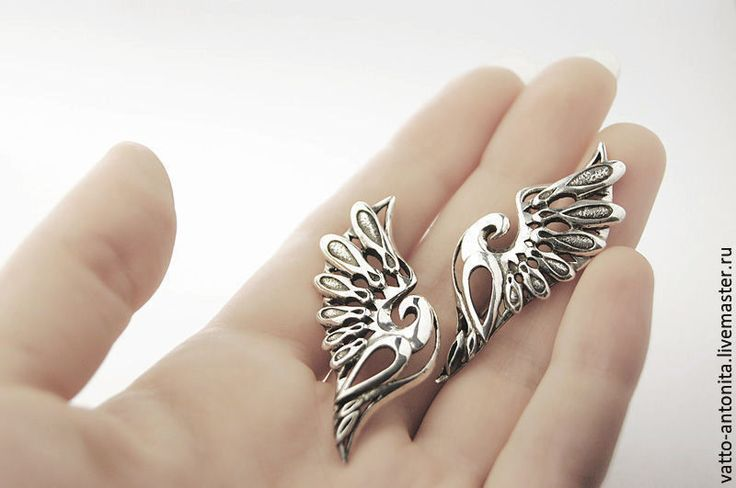 Купить Взамах Крыла - серьги из серебра в виде птиц - подарок, серебряный, серьги перья