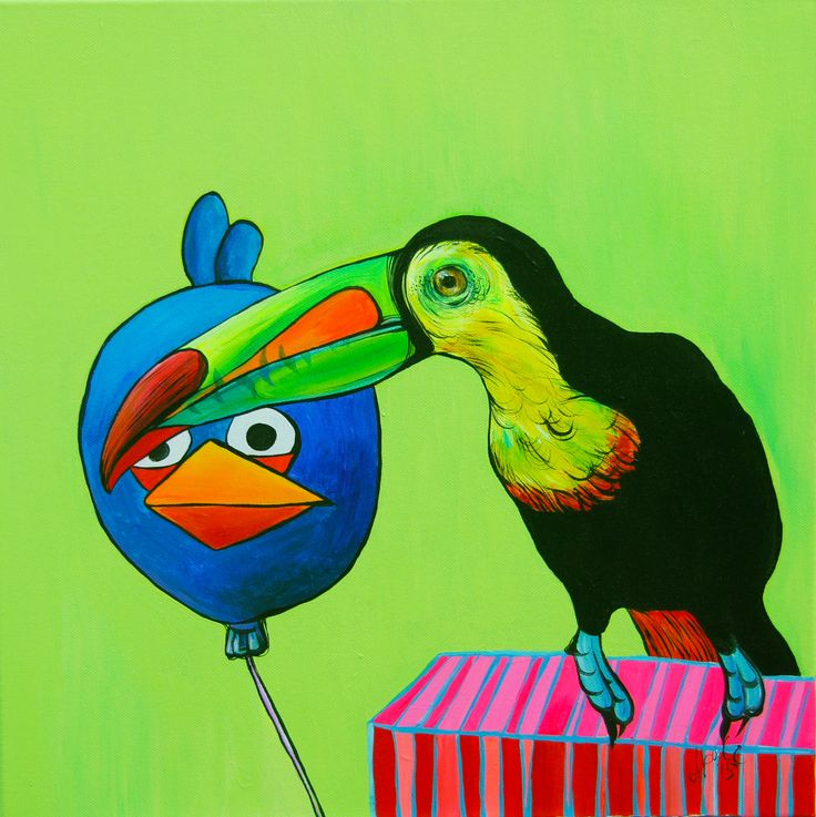 Katerina Apale facebook.com/katerina.apale.art/ #apaleart #katerinaapale #painting #toucan #angrybirds