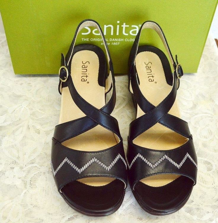 NEW Sanita Santa Fe 7-7.5/38 Cross Strap Sandals Black/White Leather Buckles #Sanita #Strappy #DressyCasual