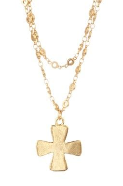 Double Strand Cross Necklace