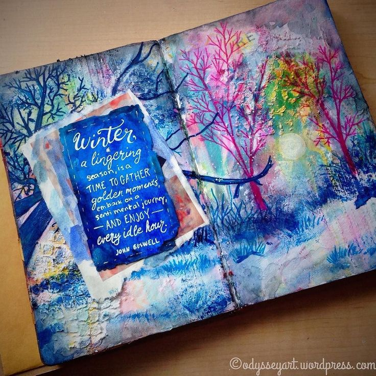 Blessed with a snow day today -- office is closed so decided to do some mixed media art journaling.  Acrylics colored pencils markers watercolors in Ranger art journal.  #doodleeveryday #dailydoodle2017 #odysseyartdoodles #odysseyartart #mixedmedia #illustration #art  #sketch #sketchbook #doodles #winter #play http://ift.tt/23VOEOv http://ift.tt/28NYcES