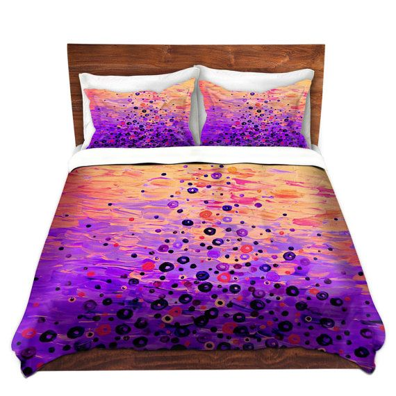 whimsical fine art duvet covers queen twin size by ebiemporium colorful bright bold abstract acrylic painting pink orange coral purple feminine stylish