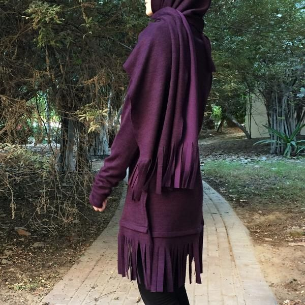 Woolen Fringe Top - Dark Purple