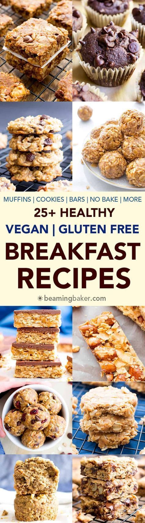25+ Healthy Gluten Free Breakfast Recipes (V, GF): A satisfying collection of nutritious, gluten free vegan healthy breakfast recipes to help you start your day off right! #Vegan #GlutenFree #DairyFree #Breakfast #Healthy   BeamingBaker.com