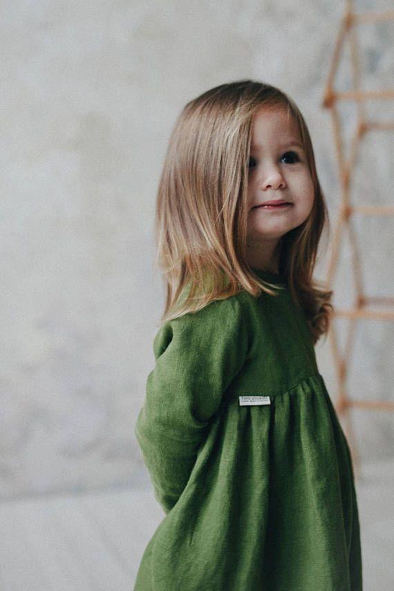 Green Linen Girls Dress, Linen Girl Dress, Girls Soft Linen Dress, Kindergarten dress, linen dress child