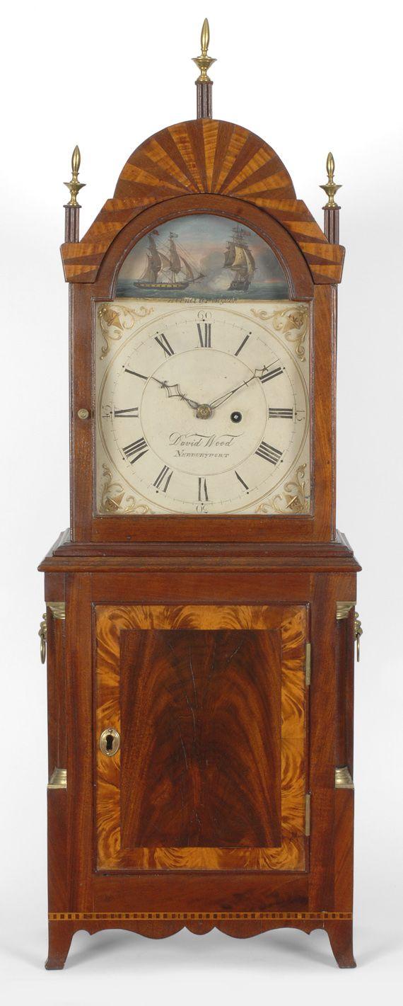 Antiques & Fine Art - Sullivan, Gary R. Antiques - A fine and important Hepplewhite Massachusetts shelf clock, by David Wood, Newburyport, M...