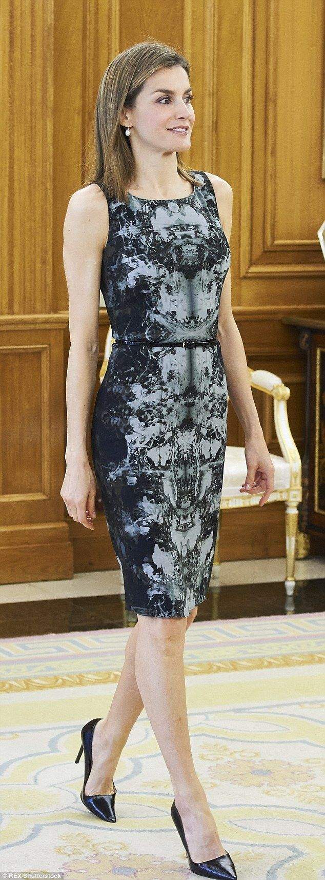 The abstract tight-fitting dress had its first airing in 2013 and is clearly a dress that Letizia feels comfortable wearing to high-profile occasions