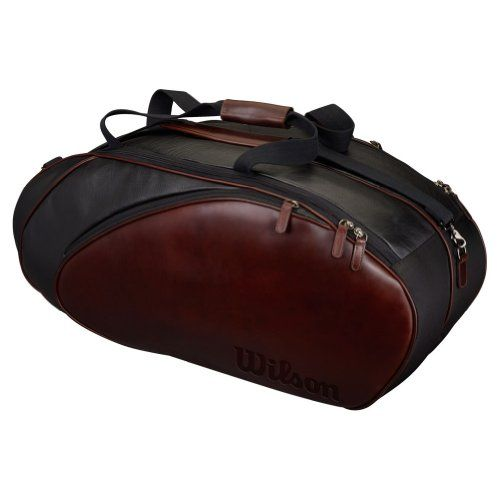 Beautiful Tennis Bag In Full Grain Leather for The Sophistcated Tennis Player. Wilson-Premium-Leather-6-Pack-Tennis-Bag-BlackBrown @luxurytennisclub.com