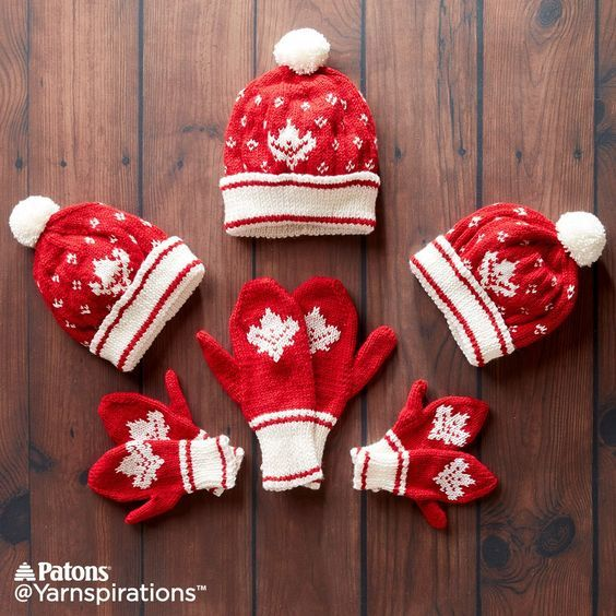 Canada Knit Toque and Mittens, Knit Pattern, Patons | Yarnspirations