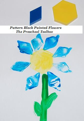 Pattern Block Painted Flowers ... great idea to 'step up' representations - create mosaic design with the materials and than recreate it in paint by 'dipping and stamping' onto paper!!!!