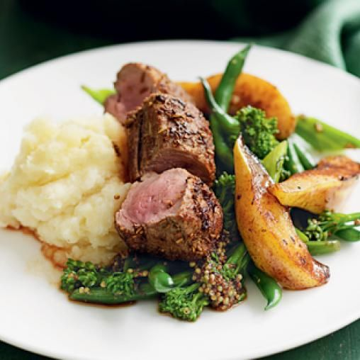 Fennel-crusted pork and roast pears with parsnip and pear mash