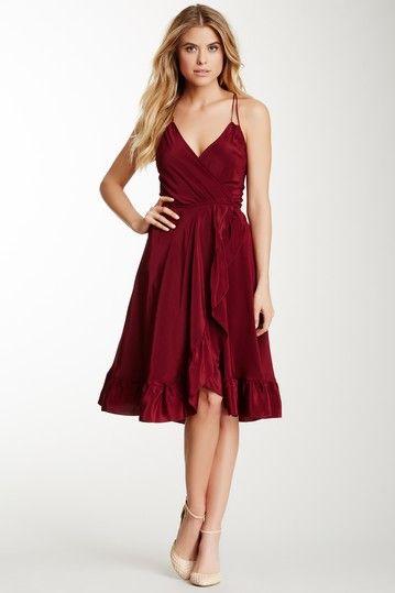 Wrap Ruffle Silk dress