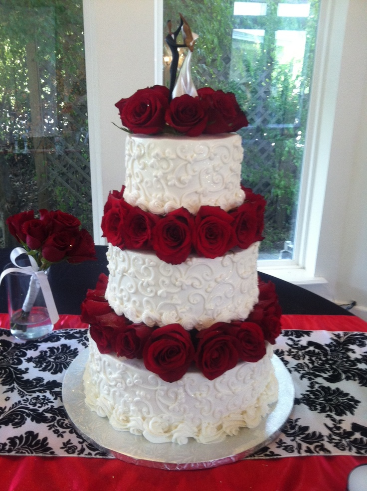 wedding cakes in lagunbeach ca%0A White Scrolls  u    Fresh Red Rose Wedding Cake allthingscakeshop com Tulsa
