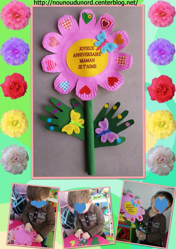 fleur de printemps que Gaspard a réalisé avec une assiette en carton http://nounoudunord.centerblog.net/2903-fleur-de-printemps-realisee-par-gaspard-pour-sa-maman