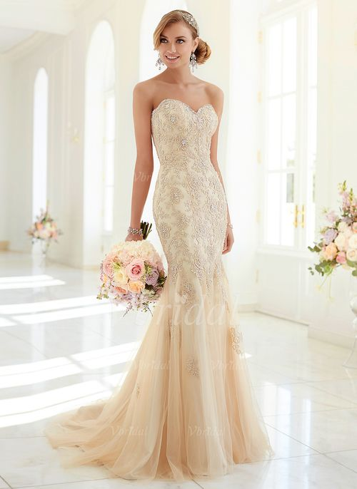 Wedding Dresses - $218.80 - Trumpet/Mermaid Strapless Sweetheart Sweep Train Tulle Wedding Dress With Lace Beading Appliques Lace (0025060131)