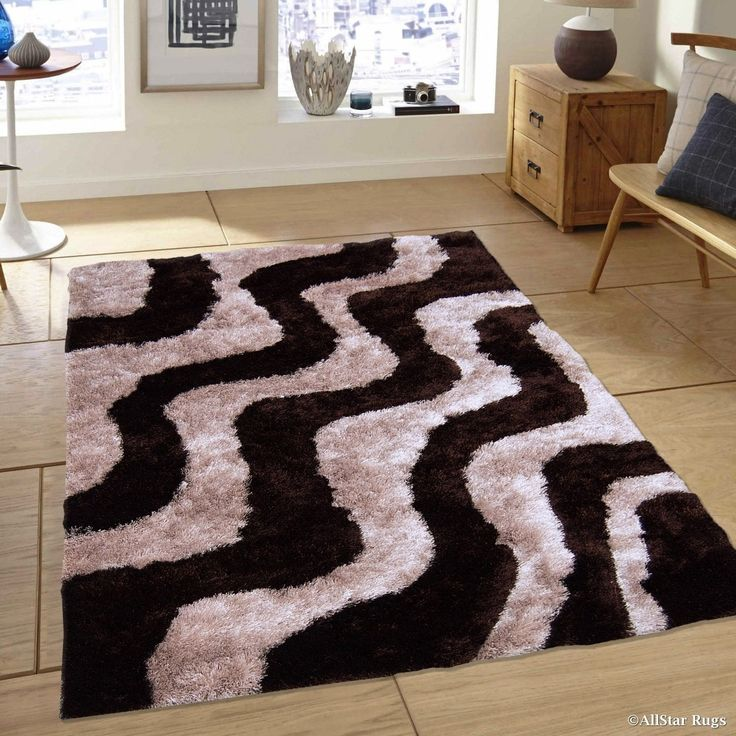 "Allstar Chocolate/ Beige Wavy Line Thick High Pile Rug (7' 11"" X 10' 5""), Brown, Size 8' x 11' (Polyester, Stripe)"
