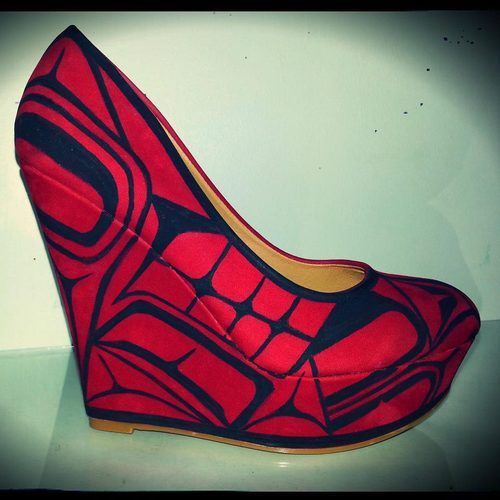 these shoes are insane!!! Alicia's Ink First nations artist of Nuu-Chah-Nulth/Kwakwaka'wakw Nations. Creating customized native designs on mo...