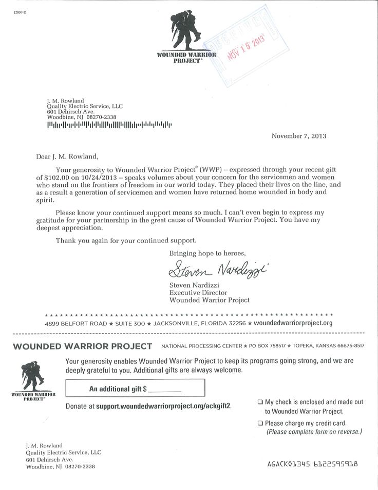 Wounded Warrior Project thank you letter qualityelectricservice - donation letters