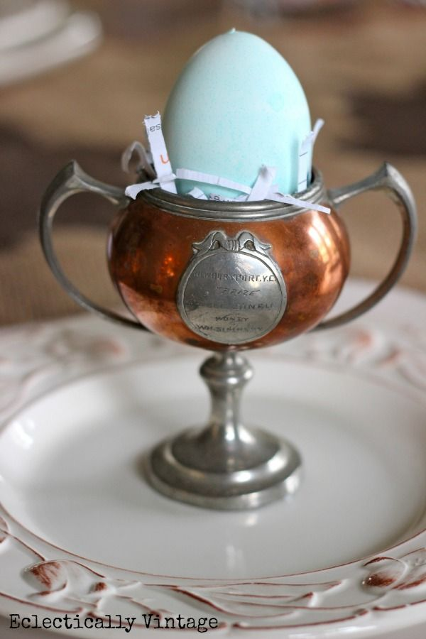 Trophy egg cup...adorable!