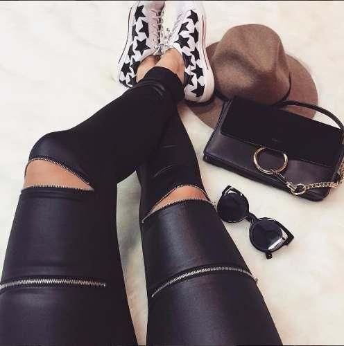 calça legging de cirrê com zíper no joelho