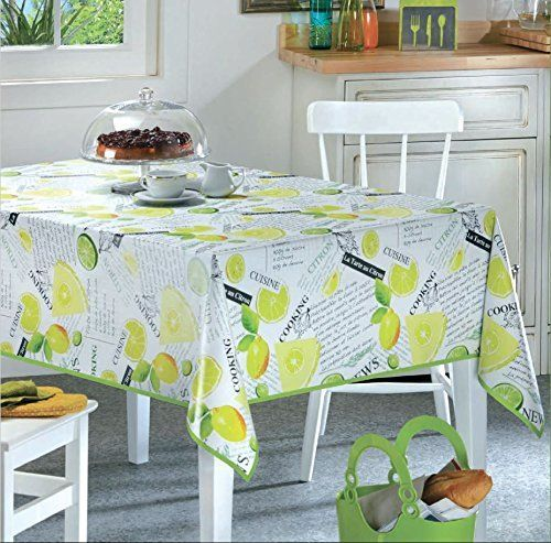 Safiya Lemon Lime Vinyl Indoor/Outdoor Non-Woven Backing Kitchen Picnic Tablecloth