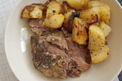 Slow-cooked Leg of Lamb with Garlic, Lemon and Rosemary, and Lemon Potatoes with Garlic & Oregano