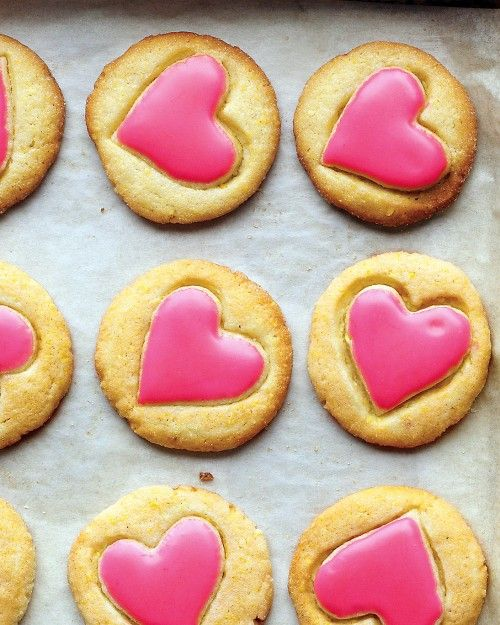 Heart-Glazed Cornmeal Cookies  http://www.marthastewart.com/335373/heart-glazed-cornmeal-cookies?center=276956&gallery=275367&slide=335373Valentine'S Day, Heart Glaz Cornmeal, Valentine Cookies, Heart Cookies, Pink Heart, Cornmeal Cookies, Cookies Recipe, Cookies Cutters, Martha Stewart