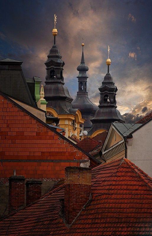 Spires in Pisek, Czech Republic. #MostBeautifulArchitecture #CzechRepublic